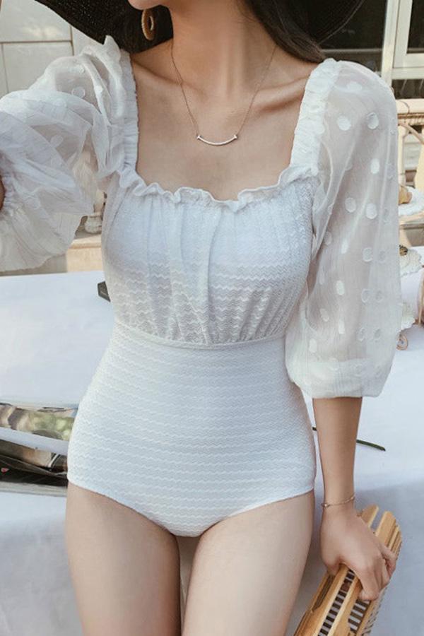 퍼펙핏 체형보완 물결프릴 도트시스루 퍼프 로맨틱 원피스수영복