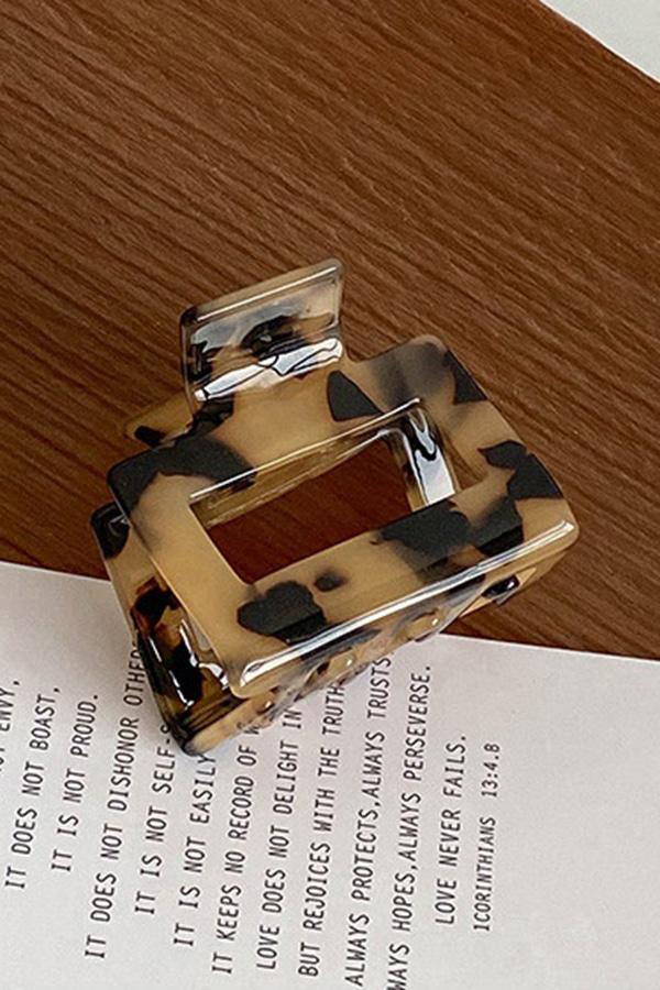 테일 스퀘어 마블 레오파드 무지 3ver 사각 레트로 반묶음 아크릴 집게핀 (아이보리,라이트커피브라운,레오파드)