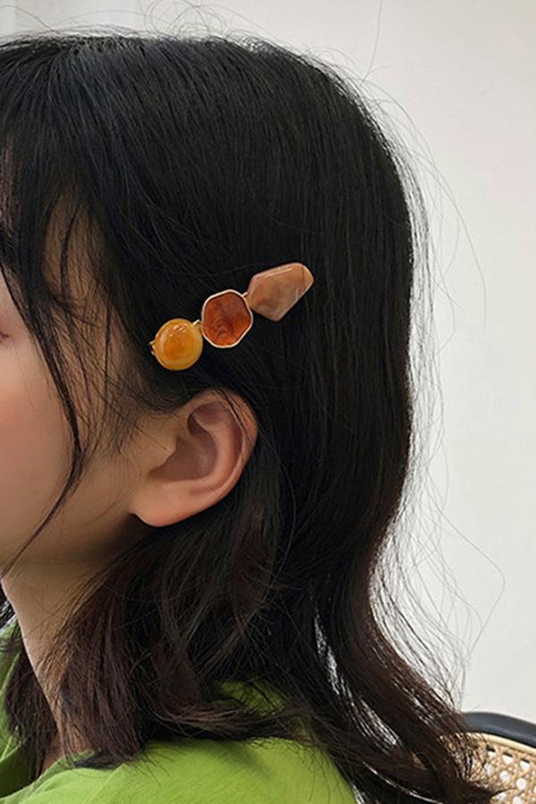 도형 엔틱 무드 집게 핀 (오렌지,화이트,블랙)