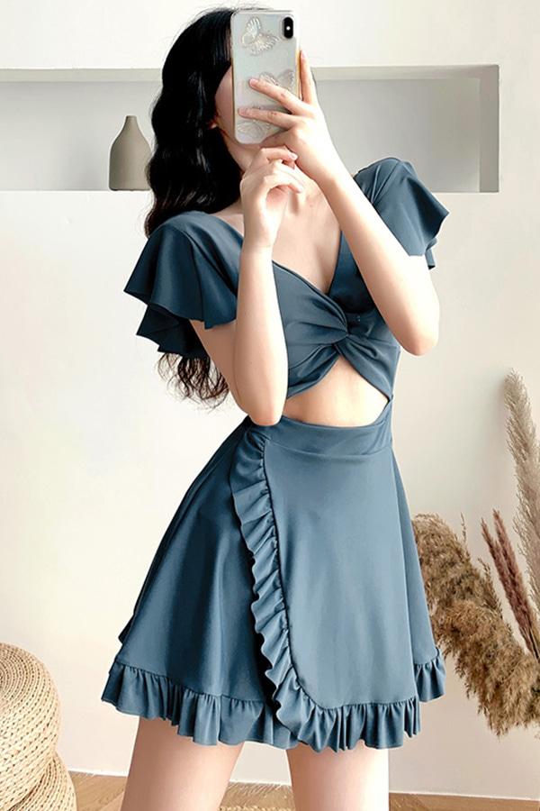 헤이츠 호캉스 바캉스 베이직 프릴포인트 브이넥 반팔 여성 원피스수영복 (블루)