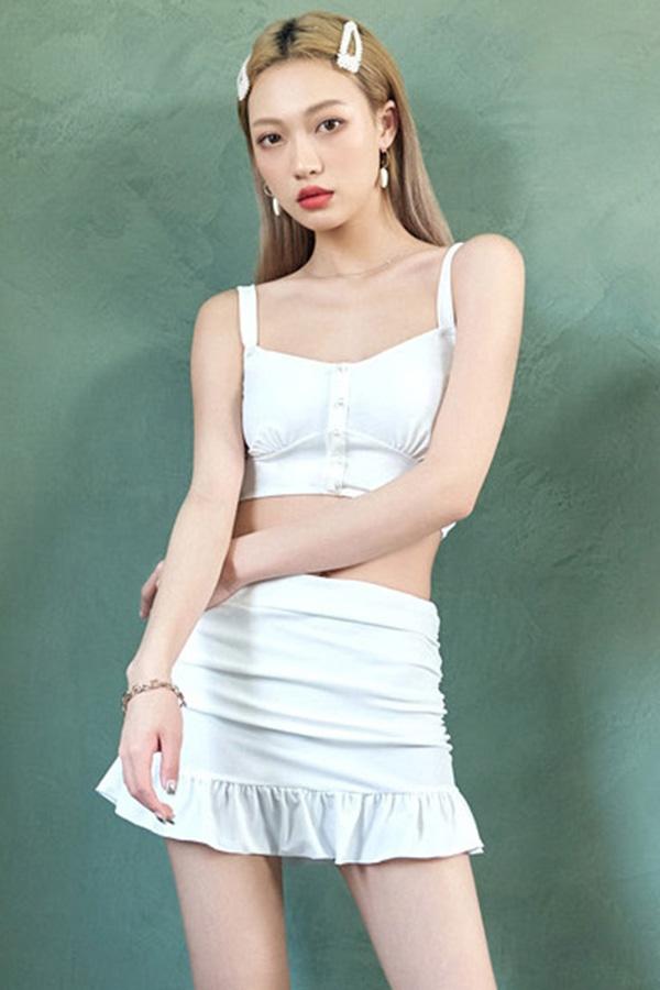 지중해 화이트 셔링 숄더슬링나시 크롭 탑 프릴 여성 비키니수영복