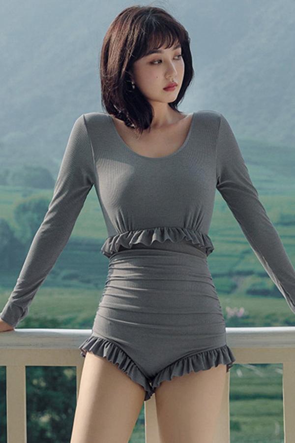 미스제이스 밑단프릴포인트 백유넥트임 여성 원피스수영복 (그레이)