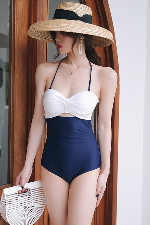 센츠 바스트배색 홀터 여성 섹시 원피스수영복 (화이트블루)
