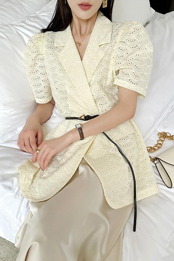 벨리 쿨펀칭 퍼프소매 정장 스타일 반팔 더블 봄여름 모임룩 자켓 (옐로우,화이트)
