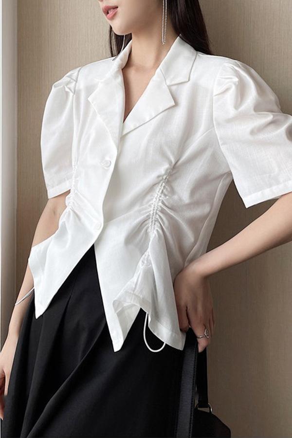 레임 스트링 셔링 볼륨 퍼프소매 싱글 카라 루즈핏 모던시크 자켓 셔츠 (블랙,화이트,살구)