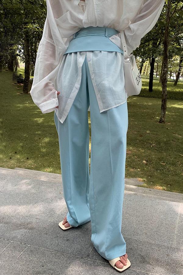 르지스 로우웨스트 핀턱 울라이트 스프링 밴드 와이드 슬랙스팬츠 (밀크화이트,핑크,블루)