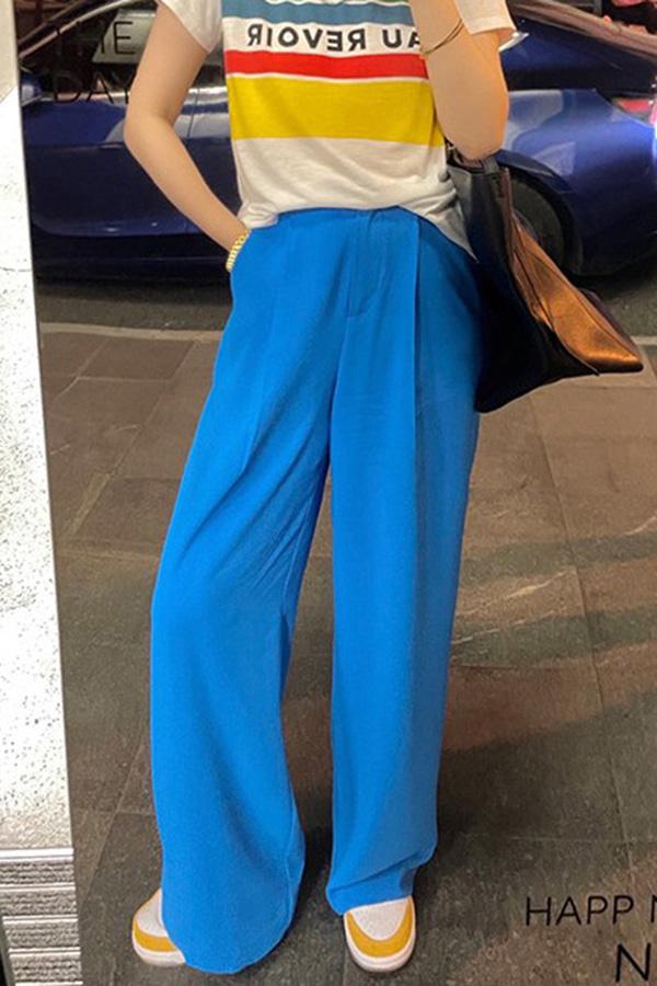 브릴리언트 하이웨스트 핀턱 쿨컬러 와이드 롱 슬랙스팬츠 (옐로우,블루)