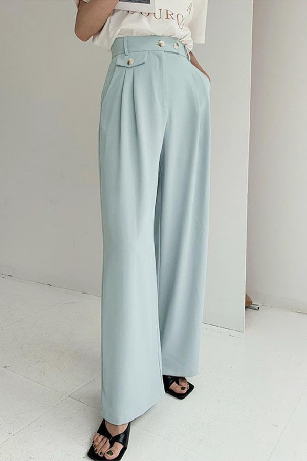 에스터 모던 심플 더블핀턱 하이웨스트 와이드 롱 슬랙스팬츠 (블루,옐로우,살구)