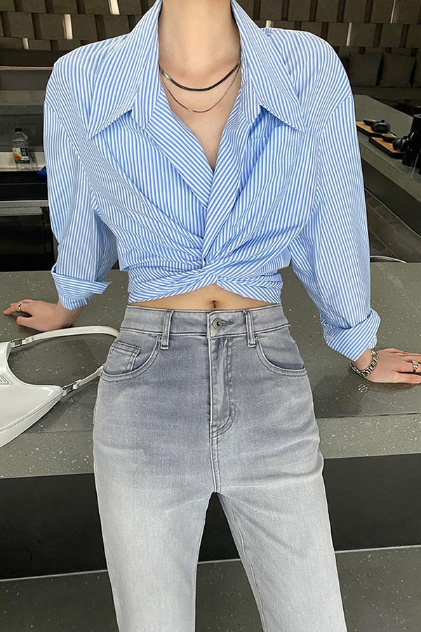 클레이스트라이트 앞 묶음 꼬임 모던시크 코튼 데일리 크롭 셔츠남방 (블루,퍼플)