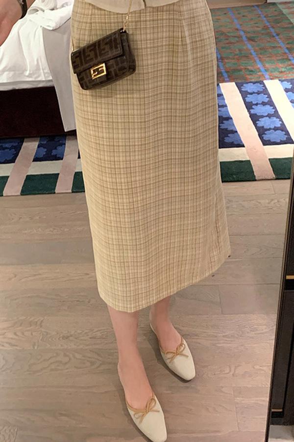 도이네 체크 백밴딩 캐주얼 페미닌무드 데일리 하객룩 롱스커트 (핑크,옐로우,그레이)