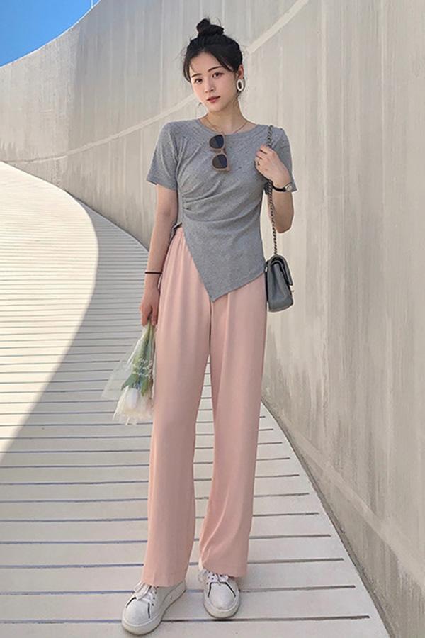 뮤즈 심플무드 밴딩 텐션업 데일리 일자 슬랙스 (블랙,살구,그린,핑크)