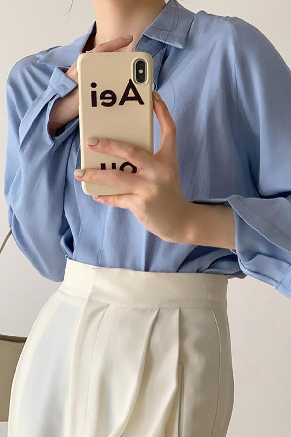 셔프 심플시크무드 인버튼 데일리 오피스 루즈핏 셔츠 (블루)