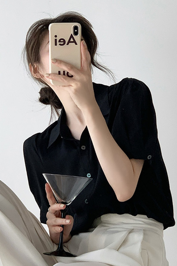 에이드 블랙 심플카라 데일리 오피스 블라우스 셔츠 (블랙)