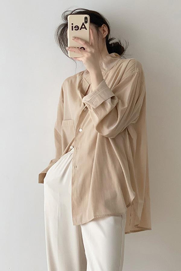 슬린 루즈핏 논카라 촤르륵 원포켓 데일리 오피스 루즈핏 블라우스 셔츠 (살구)