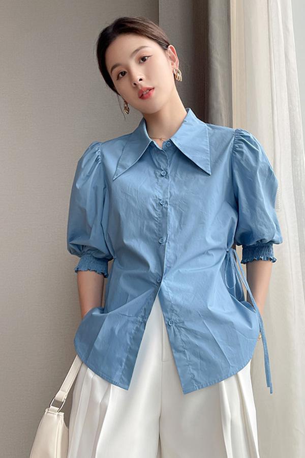 쉬어 숄더 셔링 퍼프소매 와이드 카라 사이드 스트랩 루즈핏 코튼 셔츠 (블루,살구베이지,화이트)