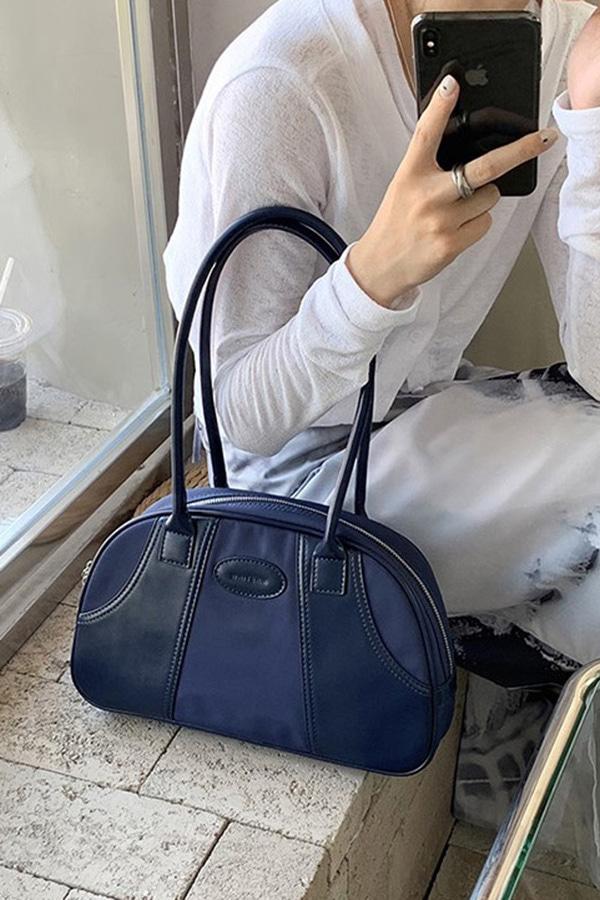 매칭 볼링백st 캐주얼 믹스매치 데일리 빈티지 숄더백 (블랙,블루,커피브라운)