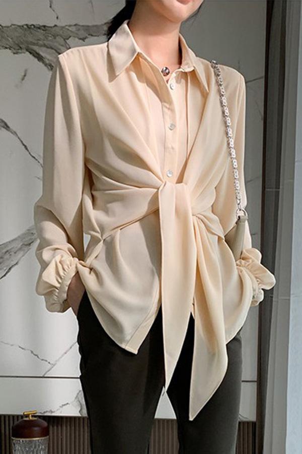 루나 프론트 스트랩 꼬임 텐션 루즈핏 모던 시크 셔츠 (블랙,퍼플,크림,브라운)