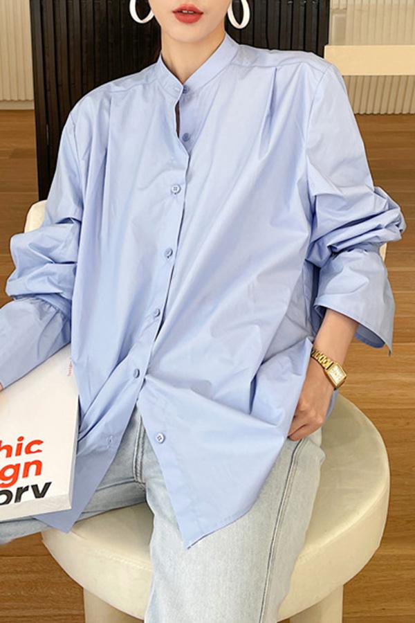 루사 차이나 카라 셔링 와이드 커프스 코튼 루즈핏 셔츠 (블루,화이트,베이지)