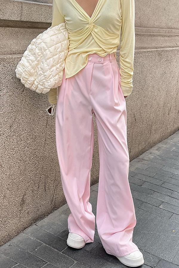 론즈 핑크 하이웨스트 핀턱 버튼 와이드 롱 슬랙스팬츠