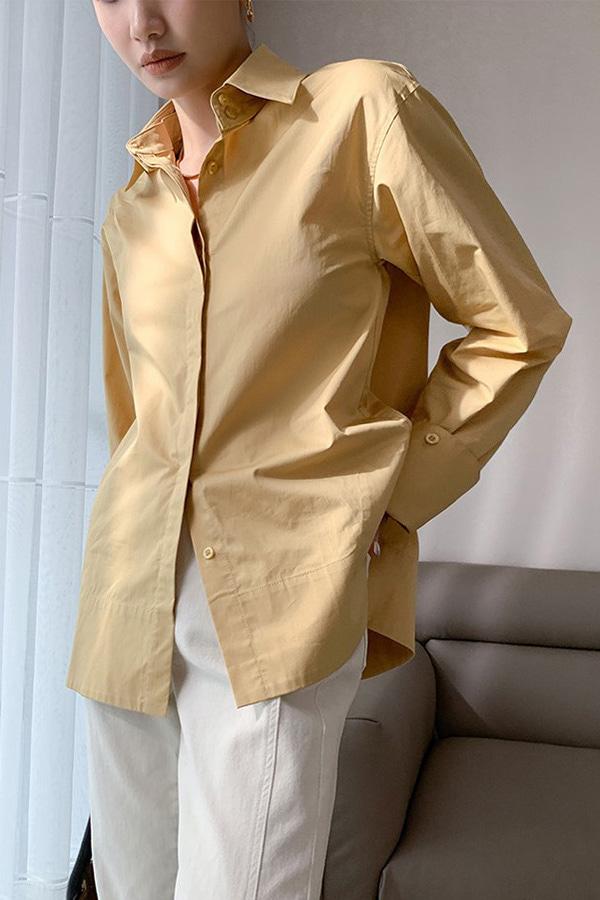 루트 프리미엄 코튼 루즈핏 와이드 커프스 모던 데일리 셔츠 (블루,옐로우,그린)