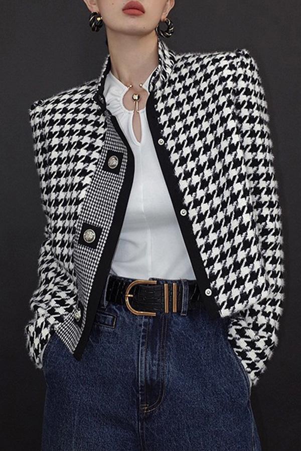 로크 클래식 하운드투스 모던 포멀핏 블레이저 모직 자켓