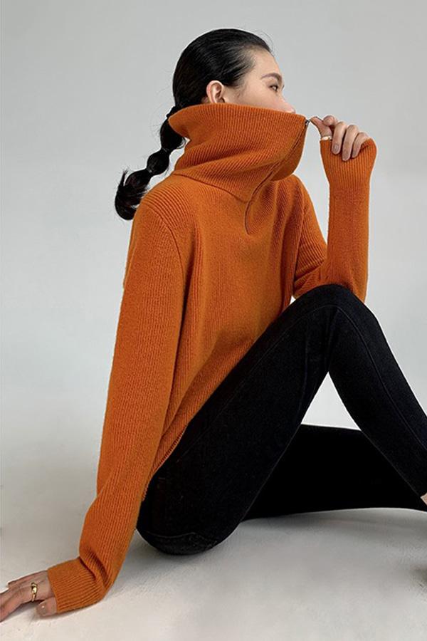 유즈 울95% 집업 하이넥 카라 루즈핏 풀오버 니트 스웨터 (라떼그레이,오렌지,커피브라운)