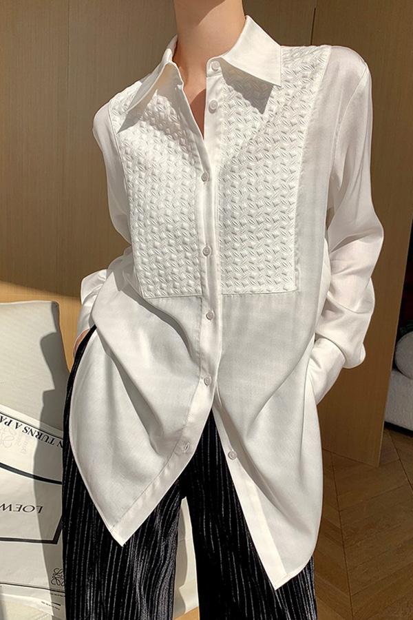 코르타 텐셀 100% 지오메트릭 엠보 패턴 포인트 롱셔츠 (블랙,화이트)